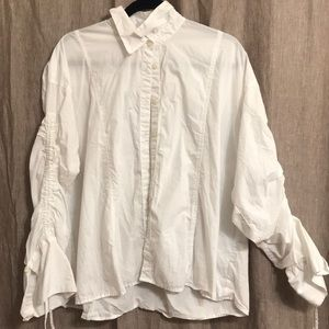 Free People White Ruched Longsleeve Button down S
